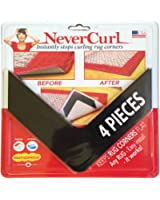 NeverCurl Instantly Stops Rug Corner Curling. Safe for wood floors. For Indoor & Outdoor Rugs. Includes 4 pcs. Not an anti-slip pad. Made in USA.
