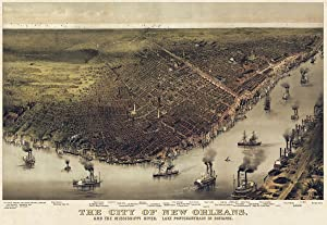 Picture Peddler The City of New Orleans Louisiana 1885 Currier & Ives Vintage Yellow Maps Print Poster (Choose Size)