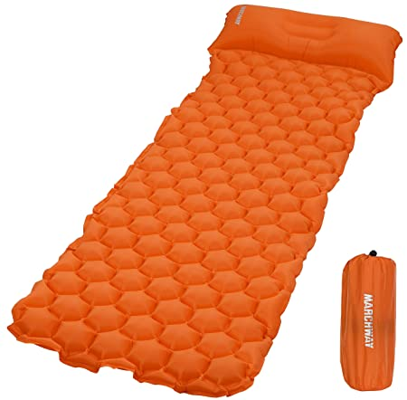 MARCHWAY Ultralight Inflatable Sleeping Pad, Durable Compact Portable Camping Air Mat for Outdoor Hiking Backpacking Traveling