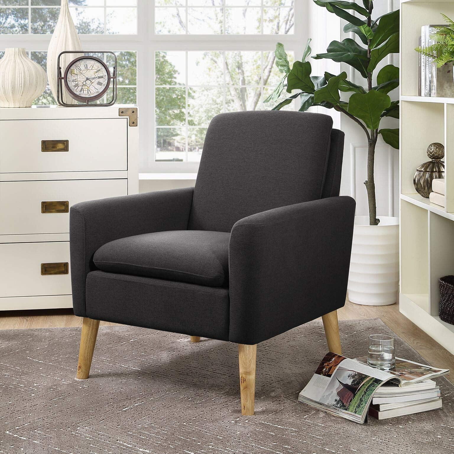 Infini Furnishings IND7902JB Accent Armchair, One Size, Anthracite by INFINI FURNISHINGS