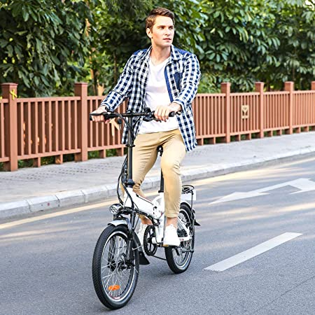 A man riding a Aceshin Folding Electric Bike down the street