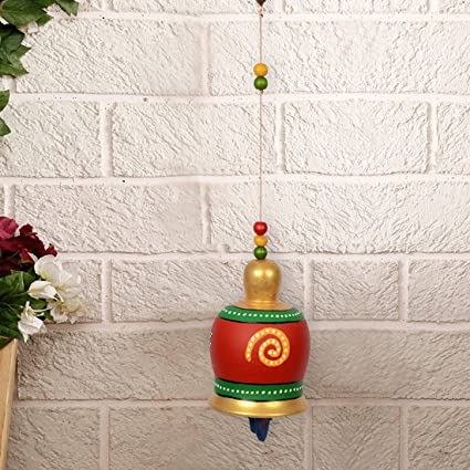 ExclusiveLane Terracotta Handpainted Home Decorative Balcony Hanging  Decorative Bell (Red)