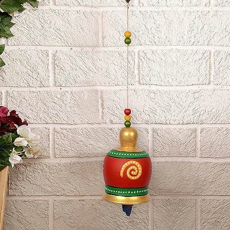 ExclusiveLane Terracotta Handpainted Home Decorative Garden Balcony Hanging Decorative Bell (Red)