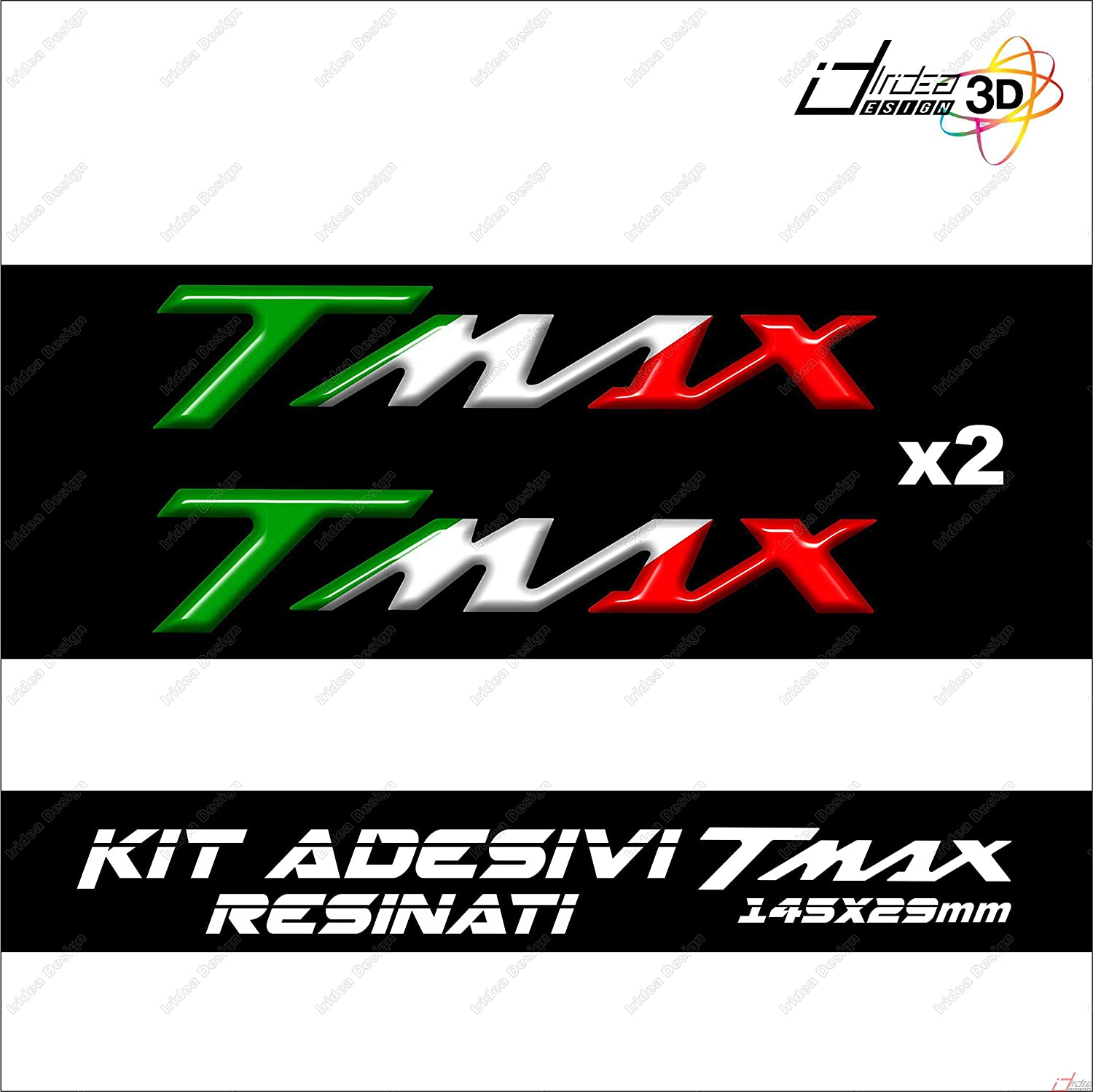 2 ADHESIFS MOTO IN RESINE 3D ECRITE TMAX COMPATIBLE YAMAHA T MAX 500 TRICOLORE