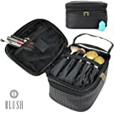 Makeup Bag Organizer by Blush | Train Style Case with Dual Zippered Compartments | Portable Travel Kit For Brushes, Foundation, and More | Perfect for Men and Women | Includes Blending Sponge