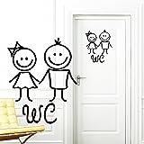 """Adhesivo para Puerta """"WC Mujer y Hombre"""" 20 x 24 cm - 49 Colores - negro"""