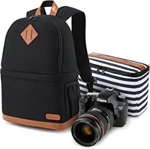 Kattee Camera Backpack Professional DSLR/SLR/14 Laptop Camera Bag Waterproof, Camera Case Compatible for Nikon Canon Sony Camera