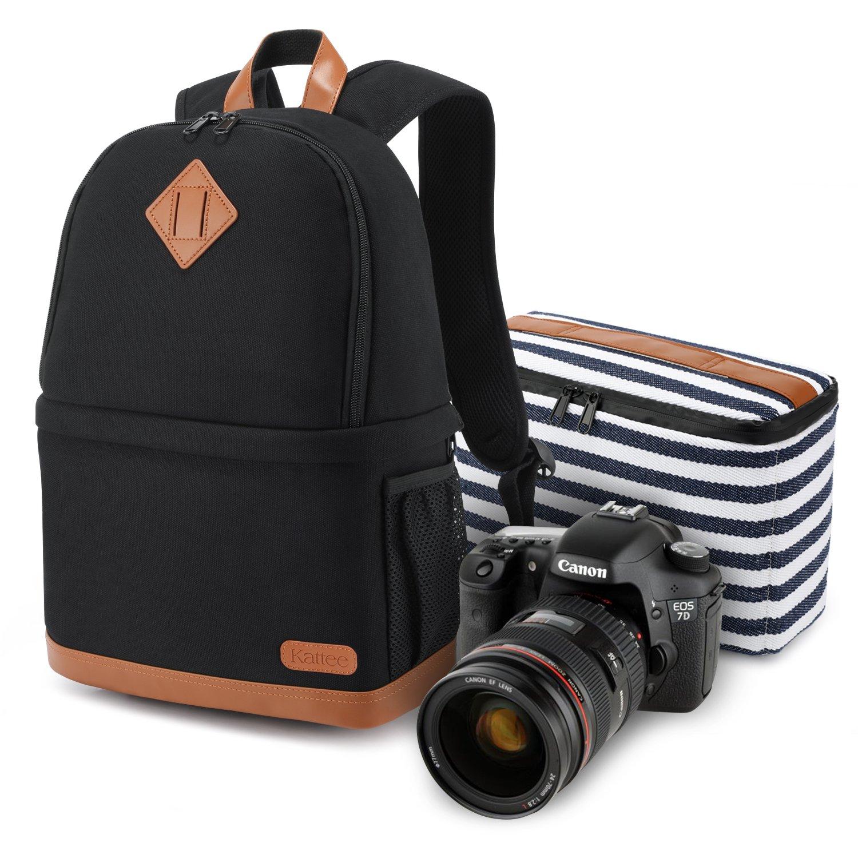 Kattee Women's Canvas SLR DSLR Camera Case Backpack 14'' Laptop Bag (Black, Small)