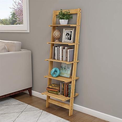 Amazon Com Home Décor 5 Tier Decorative Leaning Ladder Book Shelf Blonde Home Kitchen