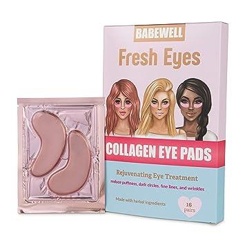 BABEWELL Fresh Eyes Collagen Rose Gold Eye Pads Mask-(16 Pairs) Reduce Dark Circles, Wrinkles, Puffy Eyes, Improve Elasticity and Moisturize