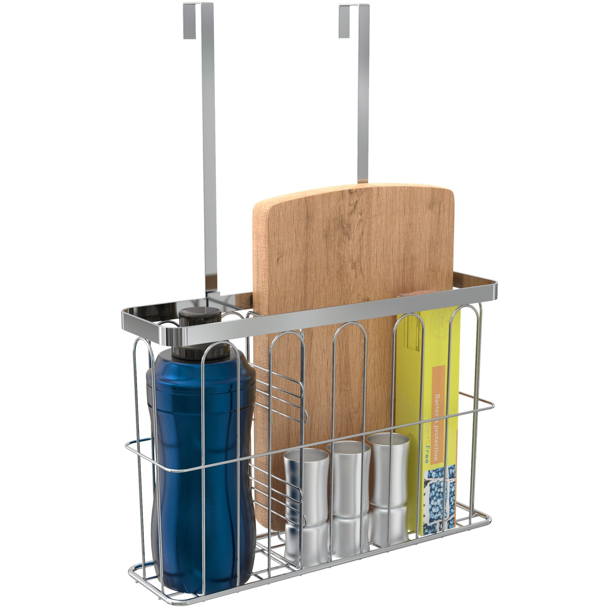 ULFR Over the Cabinet Door Kitchen Storage Organizer Basket, Space Saving Drawer Grid Holder for Cleaning Supplies, Bottles, Board, Chrome Finish with an Easy to Install Divider