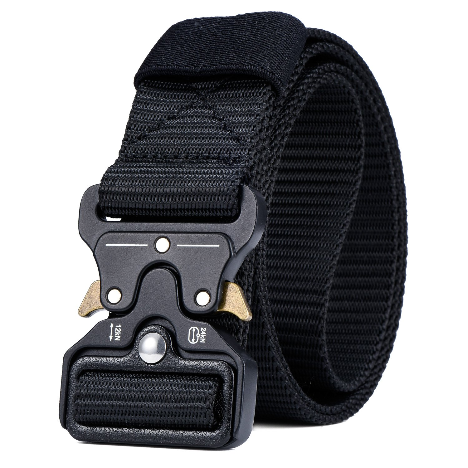 Military Tactical Belt,Quick Release Buckle, Long 43''-55'' Wide1.5'',Heavy Duty Waist Belt (Black, 43 inch)