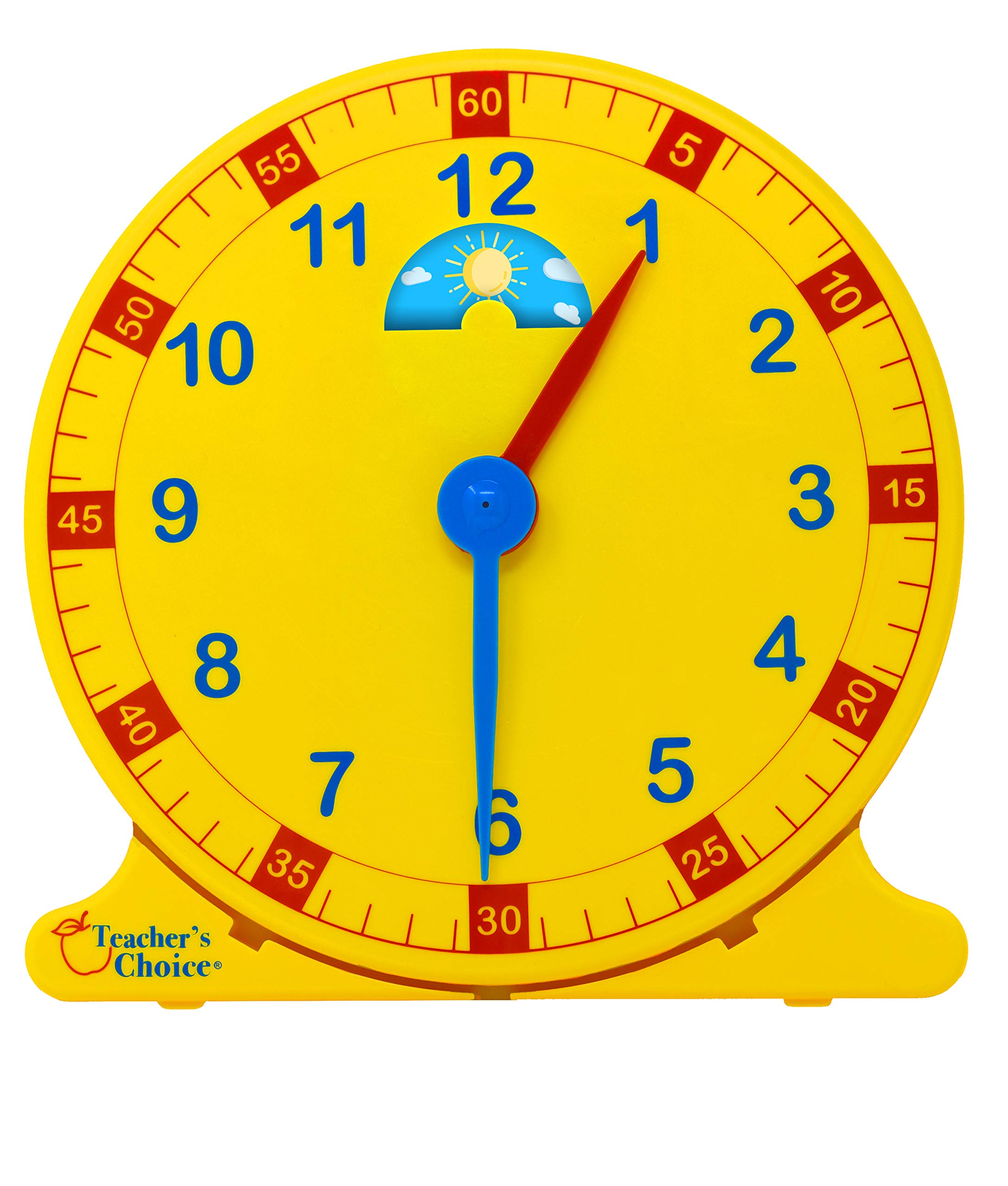 Learn How to Tell Time Teaching Clock – Large 12'' Classroom Demonstration Night and Day Learning Clock