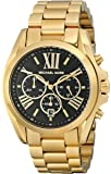 Michael Kors Goldtone Plated Stainless Steel Bradshaw Watch With Black Dial
