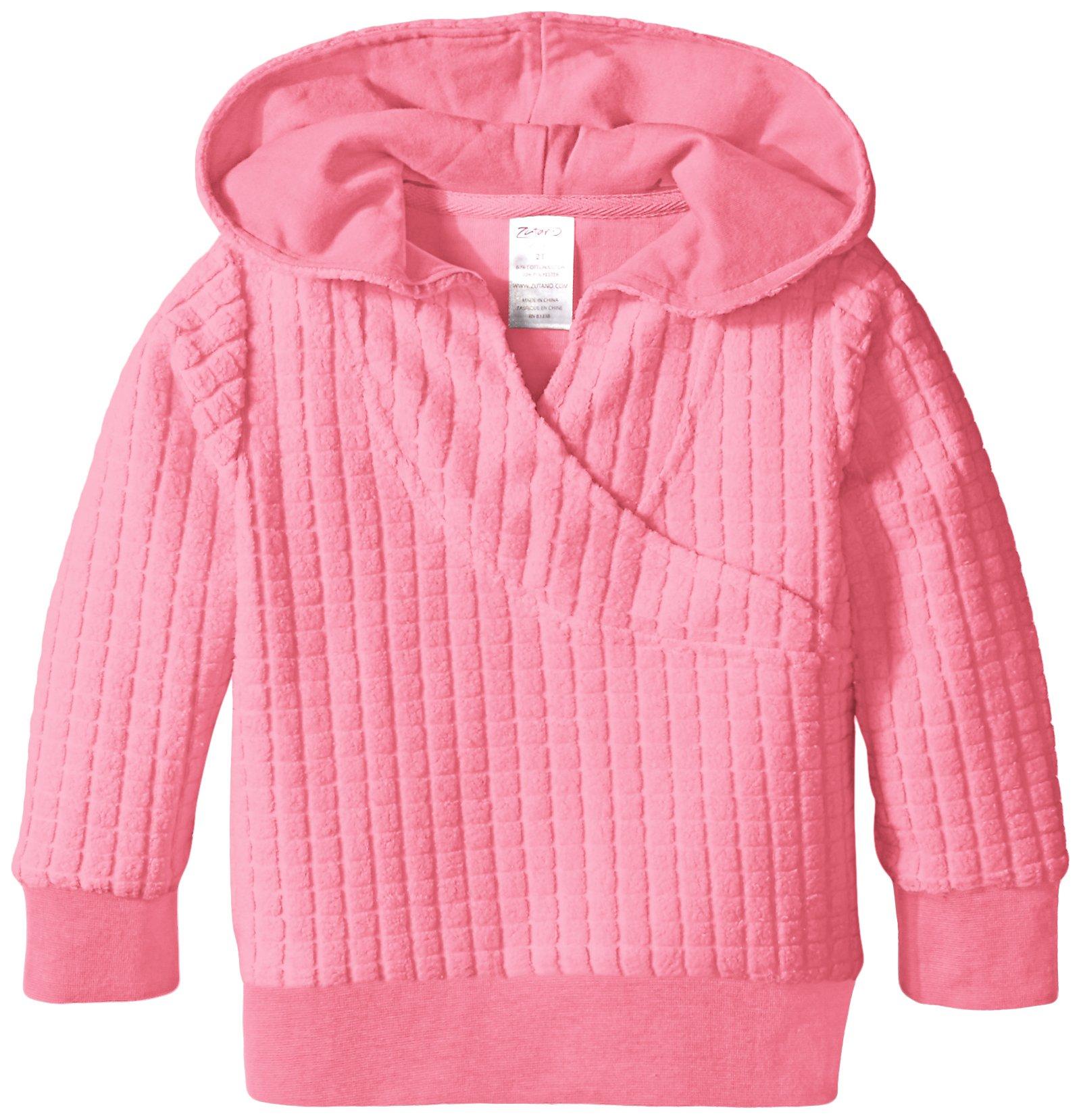 Zutano Toddler Girls' Waffle Cozie Fleece Wrap Hoodie, Hot Pink, 3T by Zutano