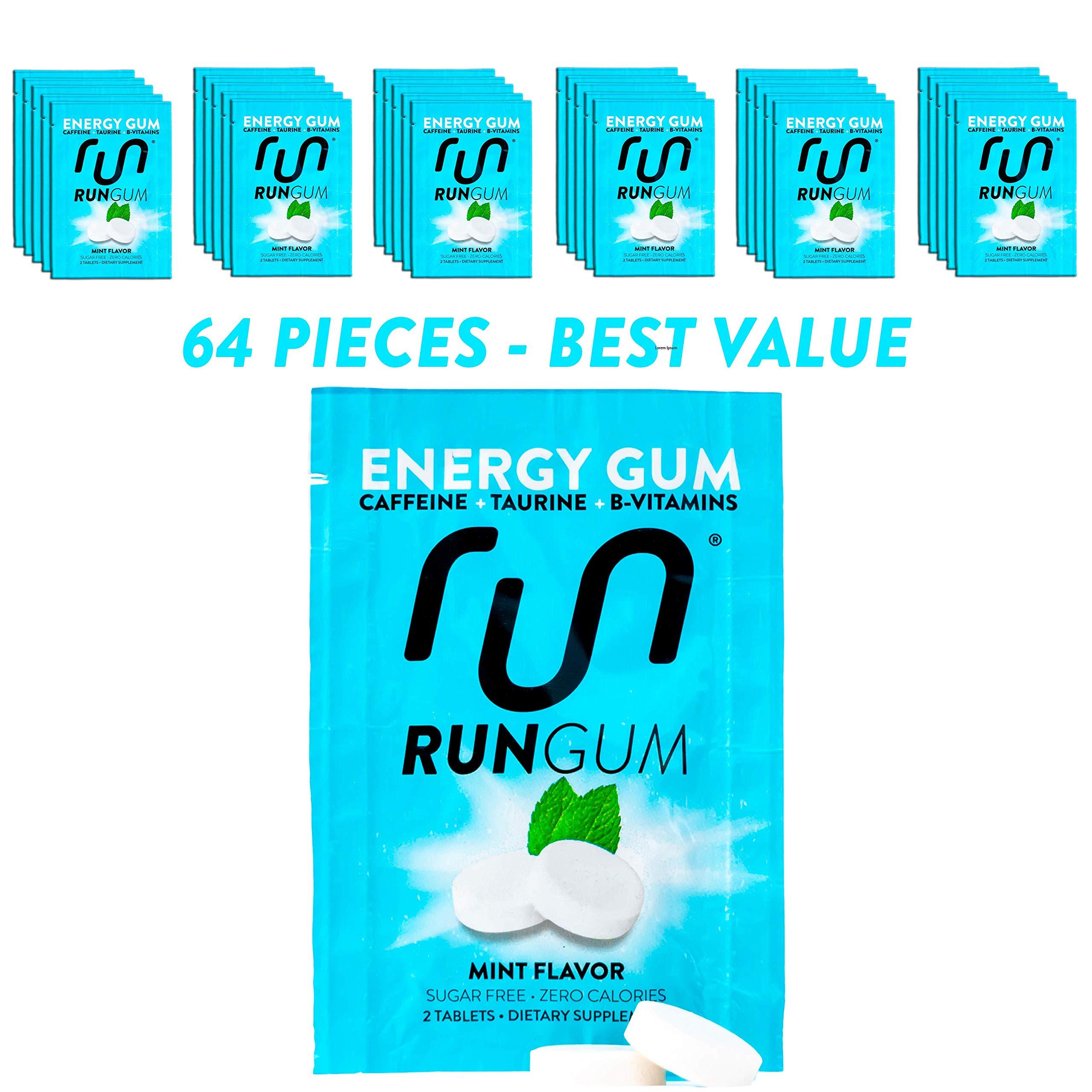 RUN GUM Mint Energy Chewing Gum 50mg Caffeine Taurine & B-Vitamins 64 Pieces (32pk) Best Value