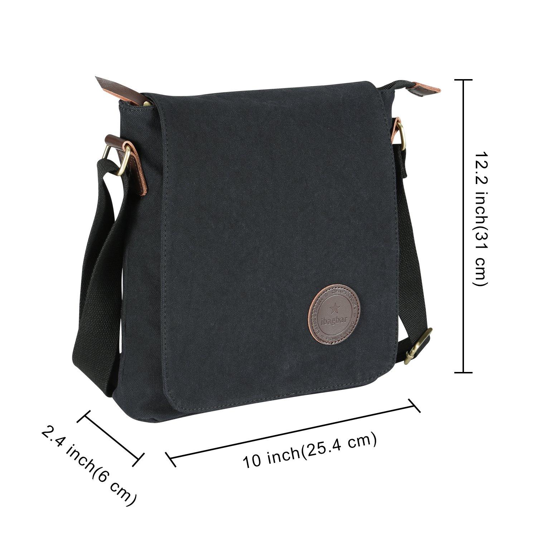 Amazon.com   Ibagbar Small Vintage Cotton Canvas Messenger Bag Ipad Bag  Shoulder Satchel Crossbody Bag Hiking Traveling Bag for Men and Women Black  ... ba629e0041