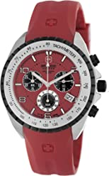Swiss Military Hanowa Mens 06-4096-04-004 Sealander Red Dial Rubber Strap