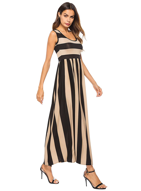 051068f0c4 ENKA Women's 1/2 Sleeve Casual Elastic Waist Striped Flare Long Maxi Dress  (Small, Apricot Black Stripes?Sleeveless?) at Amazon Women's Clothing store:
