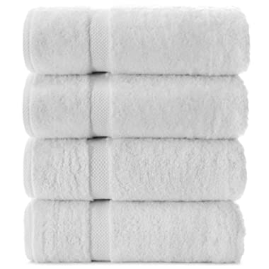 Indulge Linen Premium Turkish Cotton Bath Towels, Soft and Eco-Friendly, Set of 4 (White)