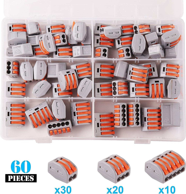 Kinstecks 50PCS Lever-Nut 2//3//5 Paquete de Surtido de Conductores Conector Conector de Empalme Compacto PCT-212 PCT-213 PCT-215 Kit de Tuercas de Palanca
