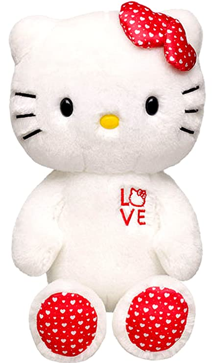 2fdc296cc Amazon.com: Build a Bear LOVE Hello Kitty Doll White and Red with Hearts  Print Large 18 in. LE Stuffed Plush HK Sanrio Toy Animal: Toys & Games