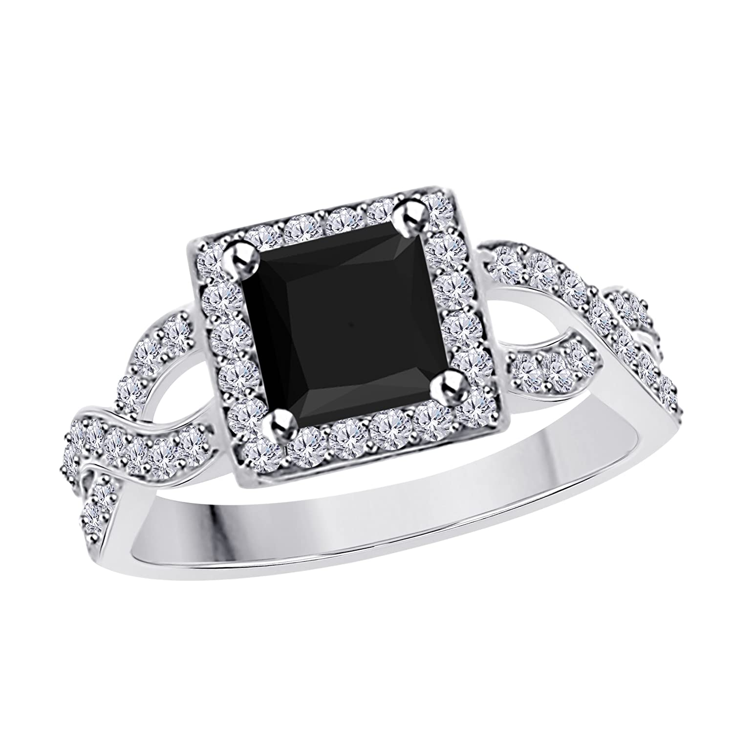 DS Jewels 2.00 Ct Princess Cut Halo Pave Eternity Ring Created Black Sapphire /& Cubic Zirconia Split Shank Engagement Ring in 14k White Gold Plated Alloy Size 4-12