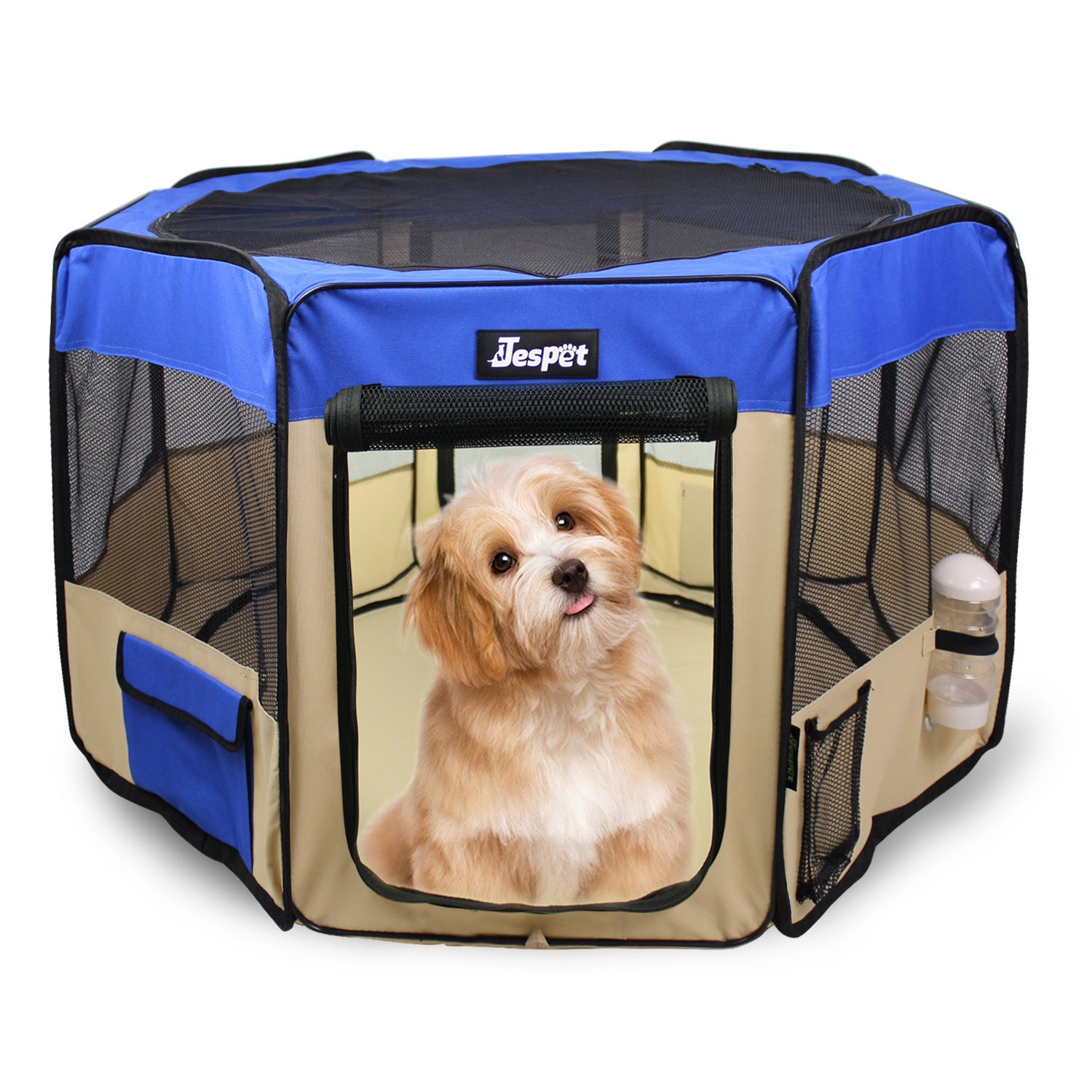 Jespet 61'' Pet Dog Playpens, Portable Soft Dog Exercise Pen Kennel with Carry Bag for Puppy Cats Kittens Rabbits,Blue