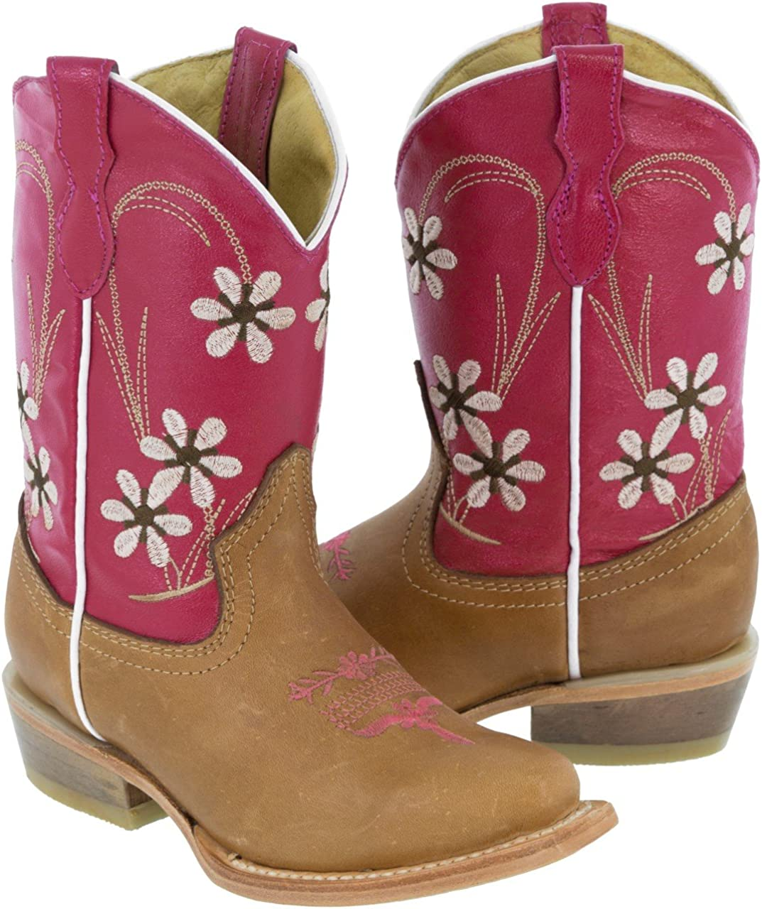 Veretta Boots Girls Kids Fuchsia Light Brown Youth Floral Cowgirl Boots Snip