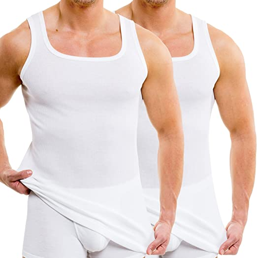 HERMKO 16038 Kit de 2 Camiseta sin Mangas para Hombre en algodón/Doble nervadura, Farbe:Blanco, Größe Herren:6 (L): Amazon.es: Ropa y accesorios