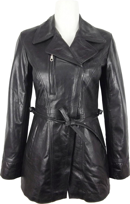 UNICORN Womens Mid Length Coat - Real Leather Jacket - Black Glaze #P5 Unicorn London