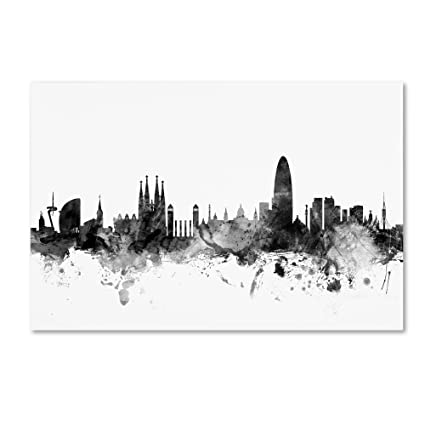 746ac7965 Image Unavailable. Image not available for. Color  Trademark Fine Art Barcelona  Spain Skyline B W by Michael Tompsett ...