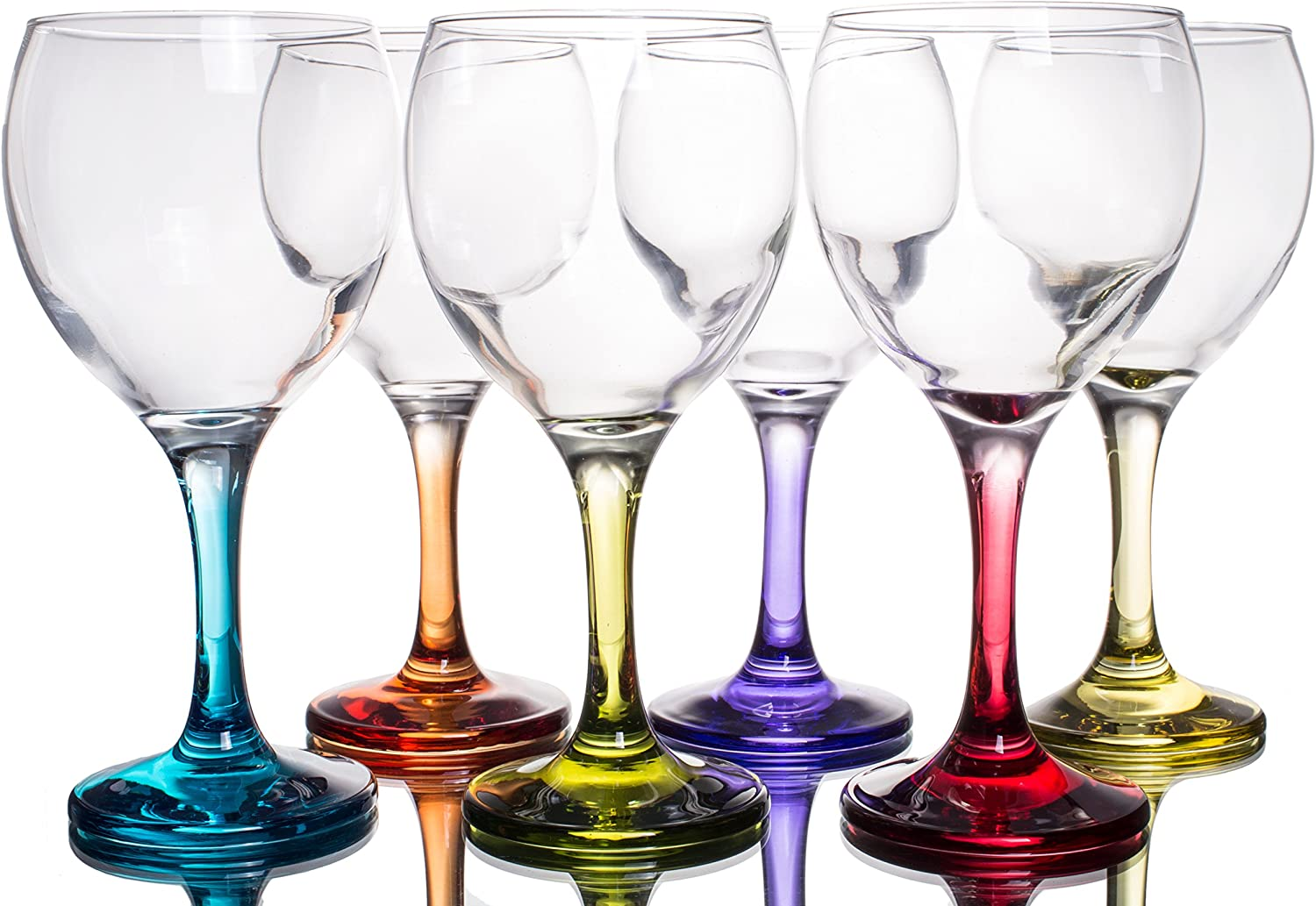 Orion Multi Colored Party Stemmed Wine Glasses, 12 oz, Set of 6