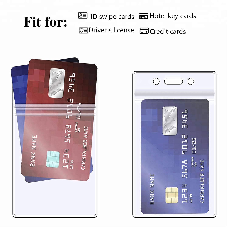 Schwarz Lanyard Kartenhuellen Packung mit 50 St/ück Transparent l/öschen Vertikale Abzeichen Halter mit Lanyard f/ür Business Karten Bus -Karten mit Clip Visitenkarten Studentenausweise