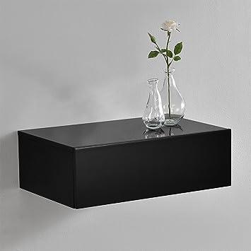 en.CASA] Étagère Murale pour Chambre à Coucher avec 1 tiroir - Noir ...