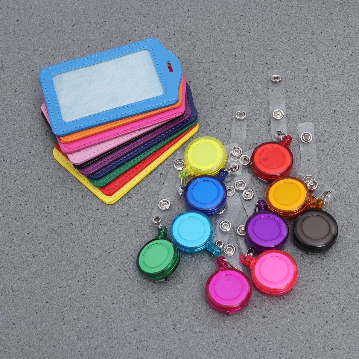 NUOLUX porte-badge ID Pelle PU Badge Nome Carte di Visite con retrattile ID Badge Reel 10pcs Multicolore