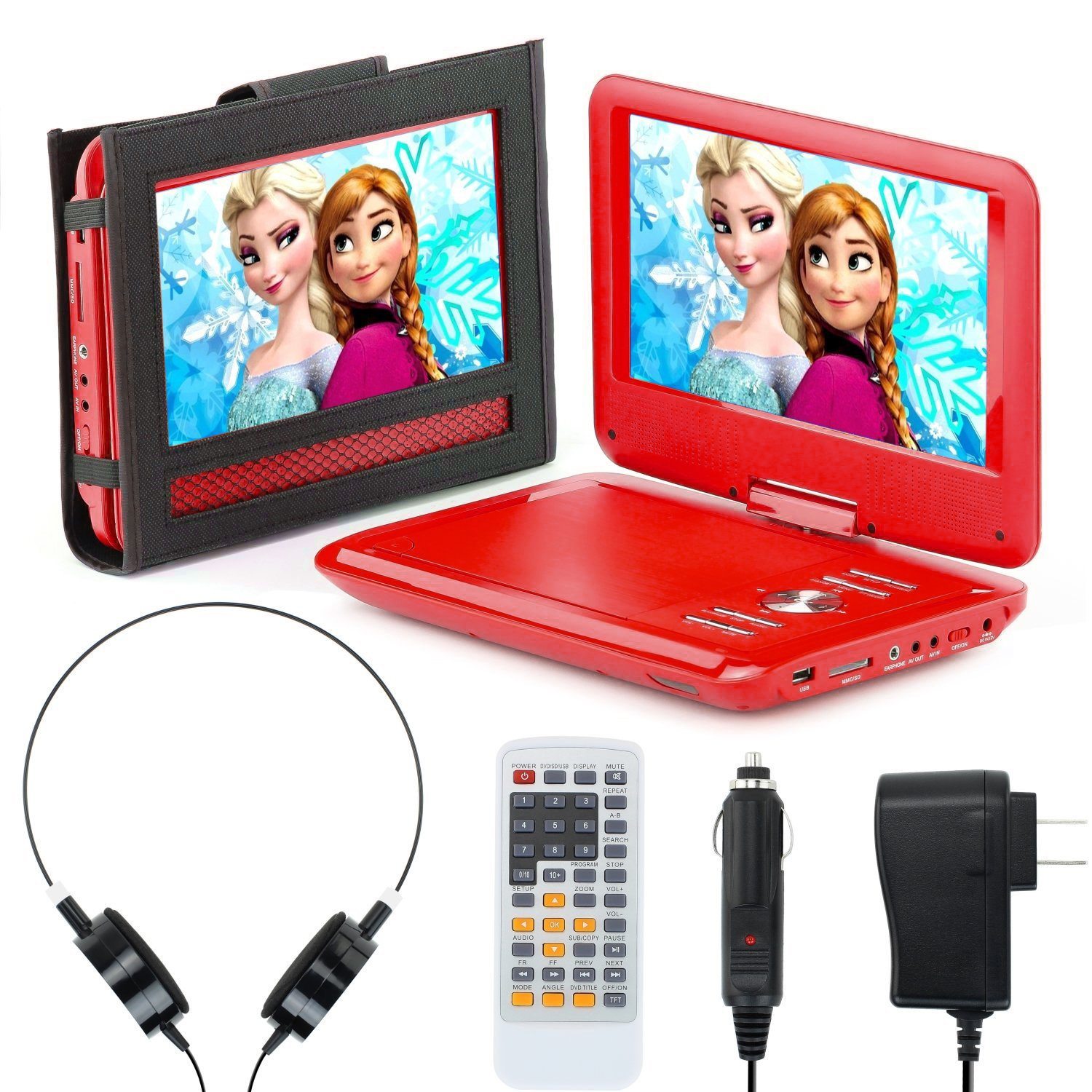 Portable DVD Player for Car, Plane & more - 7 Car & Travel Accessories Included ($35 Value) - 9'' Swivel Screen - Whopping 6 Hour Battery Life - Perfect Portable DVD Player for Kids - Red by eXuby