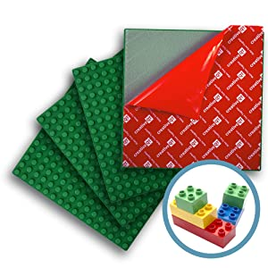 "Creative QT Peel-and-Stick, Self Adhesive Baseplates - 4 Pack (10"" x 10"") - Compatible with DUPLO-Style Bricks (Only with Bigger Size Blocks) - Fastest and Easiest DIY Play Table or Wall (Green)"
