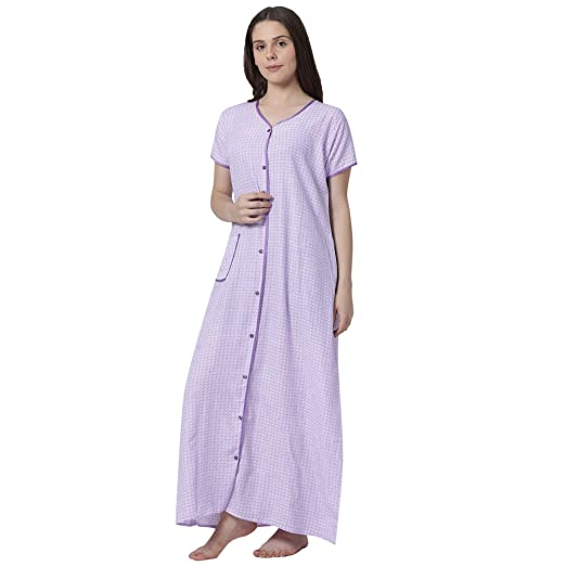 GOLDSTROMS Minelli Women s Cotton Fabric Front Button Open Night Gown  (Multi-Coloured) Blue  Amazon.in  Clothing   Accessories 505e61088