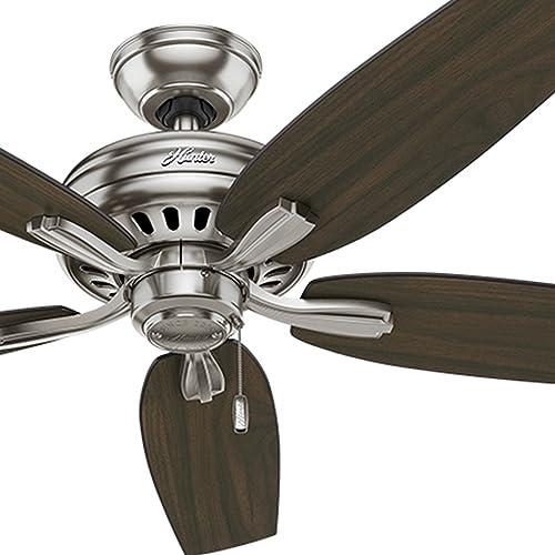 Hunter Fan 52 inch Ceiling Fan in Brushed Nickel with 5 Dark Walnut Reversible Blades Renewed Brushed Nickel