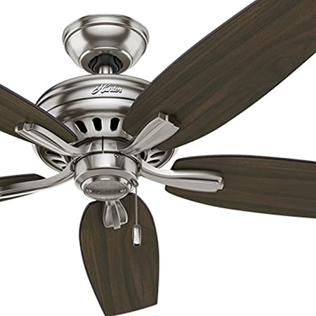 Hunter Fan 52 inch Ceiling Fan in Brushed Nickel with 5 Dark Walnut Reversible Blades Renewed Brushed Nickel