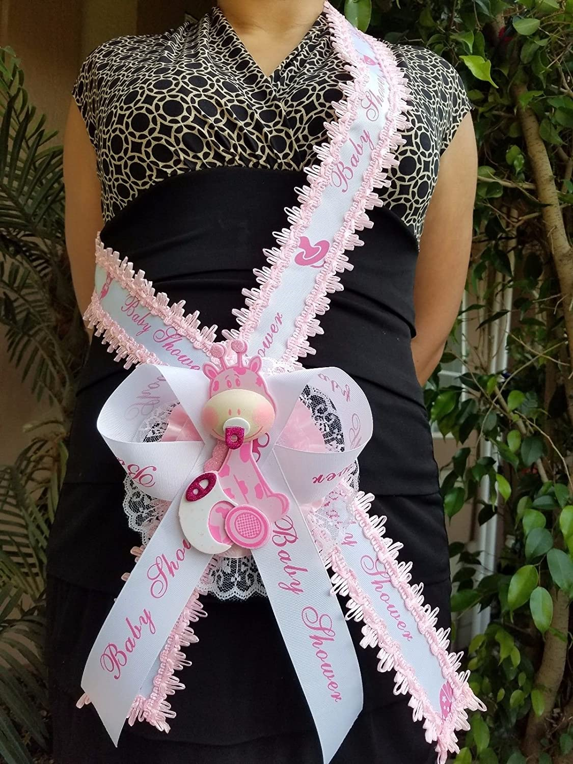 Baby Shower Mom To Be It s a Girl Giraffe Sash Pink Safari Ribbon Corsage Noah s