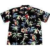 "Hawaiihemd/Hawaii Hemd ""Hawaiian Parrots""/100% Baumwolle/Größe S – 6XL/Schwarz/Papagei/Papageien"