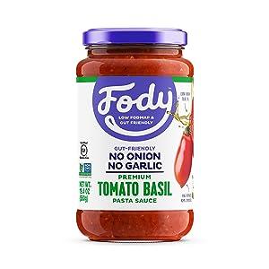 Fody Foods Pasta Sauce | Tomato Basil Sauce | Low FODMAP Certified | Gut Friendly No Onion No Garlic | IBS Friendly Kitchen Staple | Gluten Free Lactose Free Non GMO