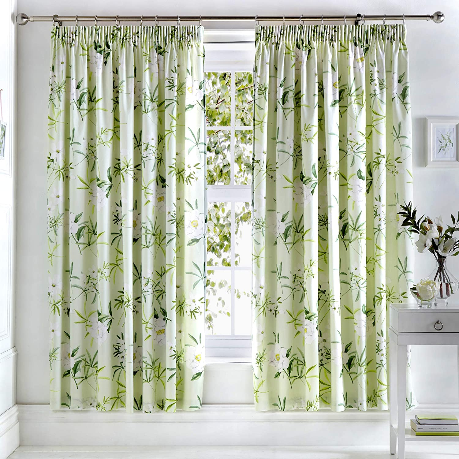 """Dreams & Drapes - Florence - Ready Made Lined Pencil Pleat Curtains - 66"""" Width x 72"""" Drop (168 x 183cm) in Green Green Curtains: 66"""" Width x 72"""" Drop (168 x 183cm)"""