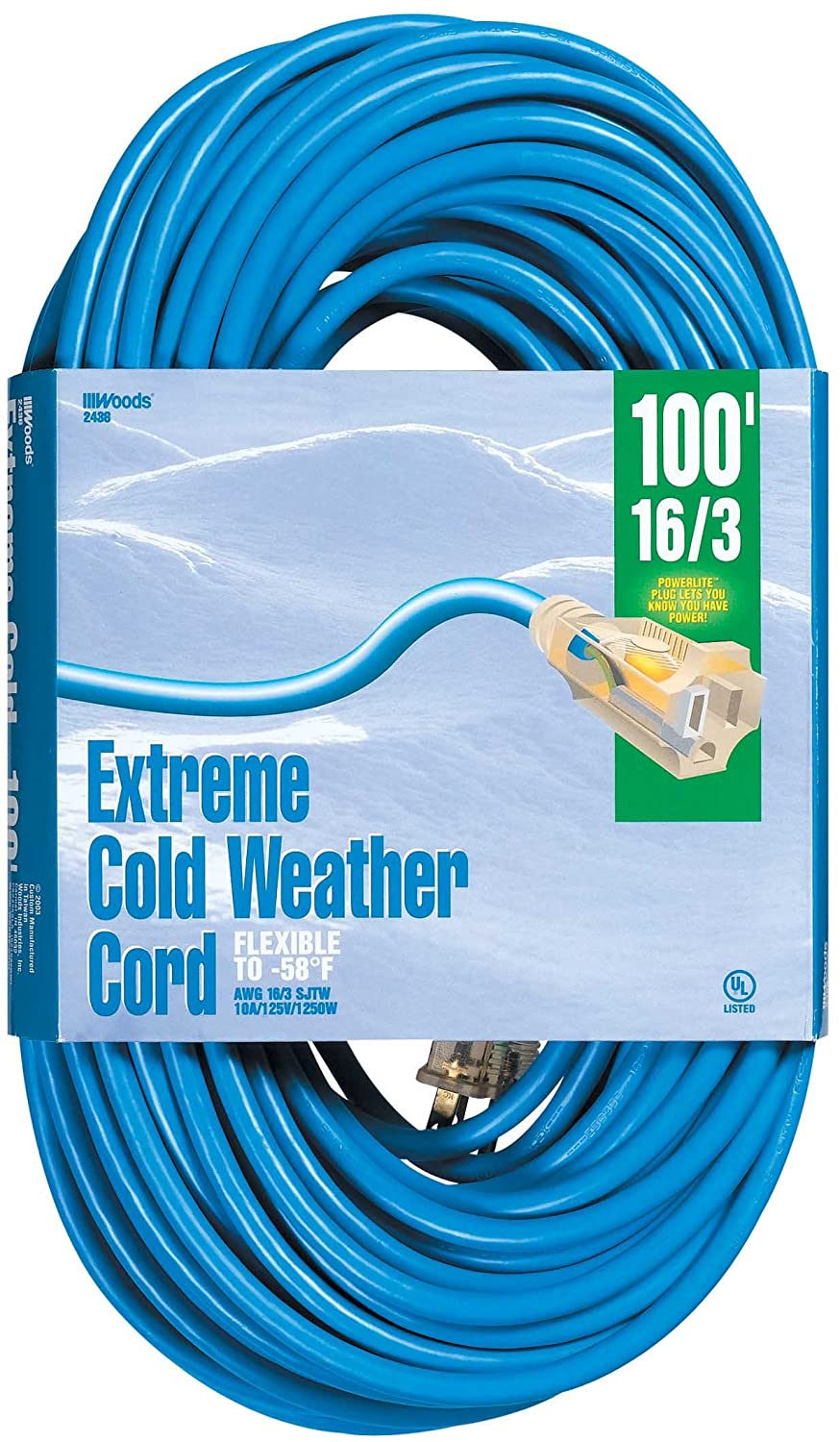 Woods 2436 16/3 Outdoor Cold-Flexible SJTW Extension Cord, Blue with ...