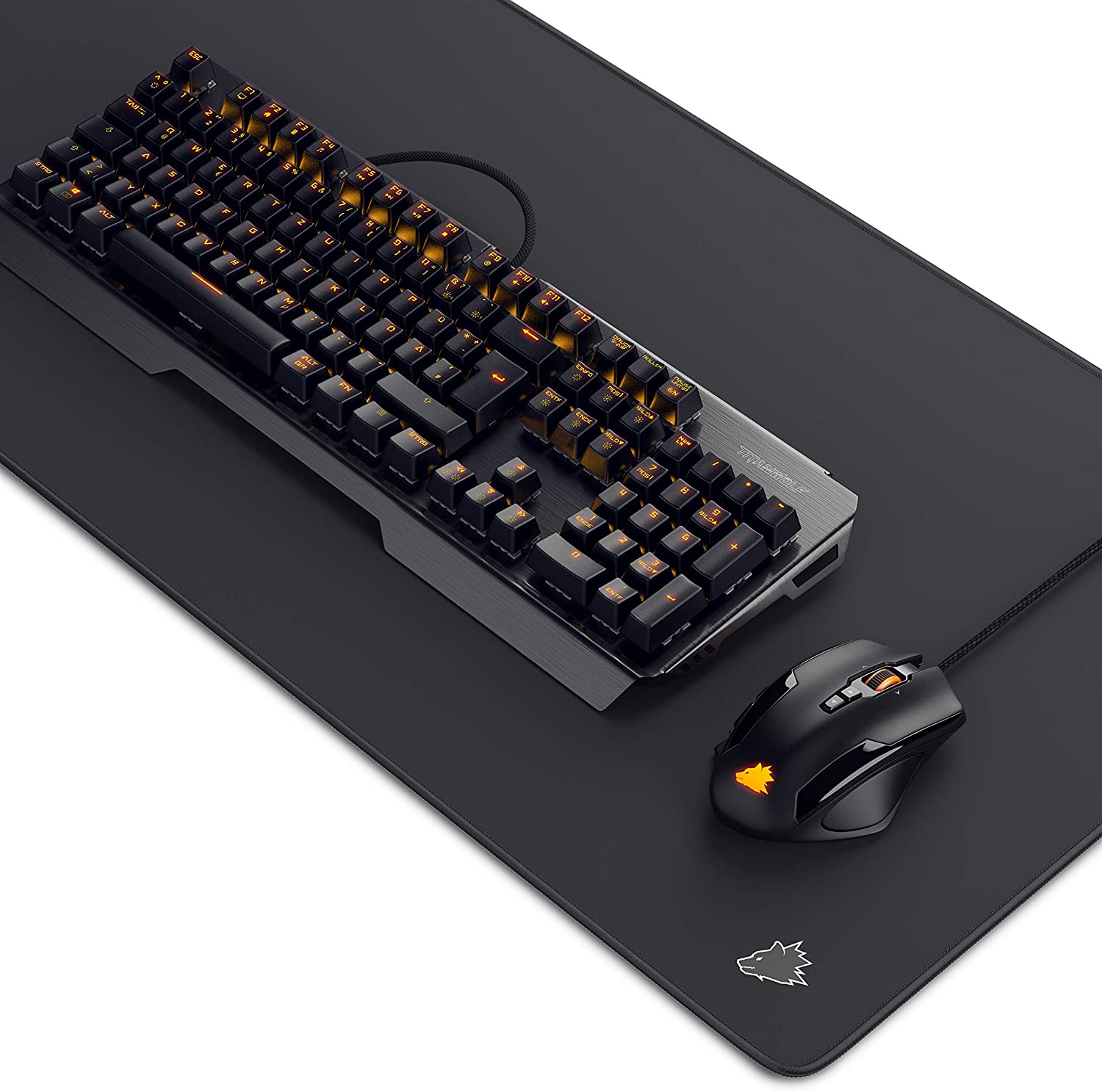 TITANWOLF Gaming Set - Teclado mecánico ALUMAR MMO 10800dpi Gaming Mouse Specialist XXL Mouse Pad símbolo - Teclado mecánico - Anti-ghosting - LED ...