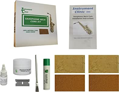 Instrument Clinic Saxophone Neck Cork Replacement Kit, Natural Cork and Composite Cork! (Adhesive not included due to shipping regulations)