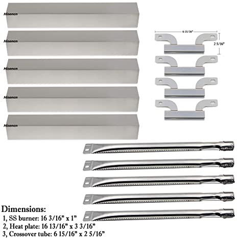 Bar bqs Replacement Stainless Steel Grill Burner Heat Plates Crossover tube  For Gas Grill Brinkmann 810-1750-s 810-1751-S 810-3551-0 Gas Grill Parts