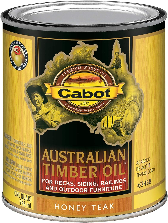 Cabot 140.0003458.005 Australian Timber Oil Stain, Quart, Honey Teak